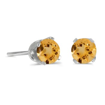 4 mm Round Citrine Stud Earrings in 14k White Gold