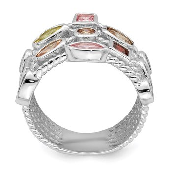 Sterling Silver Multi-Color, Multi-Shaped Gem 5-Strand Ring