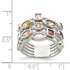 Quality Gold Sterling Silver Multi-Color, Multi-Shaped Gem 5-Strand Ring
