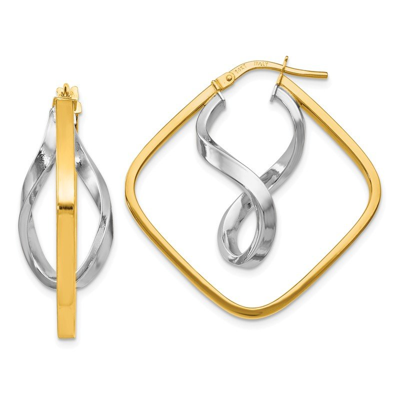 Leslie's Leslie's 14K Two-tone Gold Fancy Twisted Square Hoop Earrings