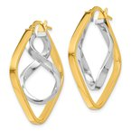 Leslie's Italian Gold Leslie's 14K Two-tone Gold Fancy Twisted Square Hoop Earrings
