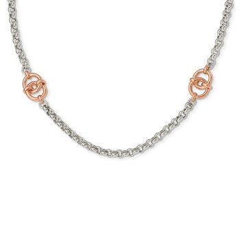 Sterling Silver and Rose-tone Polished w/1 in ext Fancy Necklace