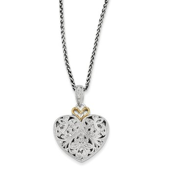 Sterling Silver w/14k Diamond Vintage Necklace