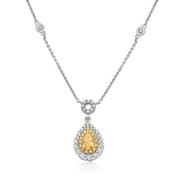 Double Halo Pear-shaped Diamond Necklace