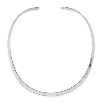 Sterling Silver Polished Hammered 6mm Neck Collar