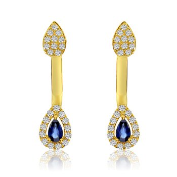 14k White Gold Pear Shaped Sapphire Double Diamond Earrings