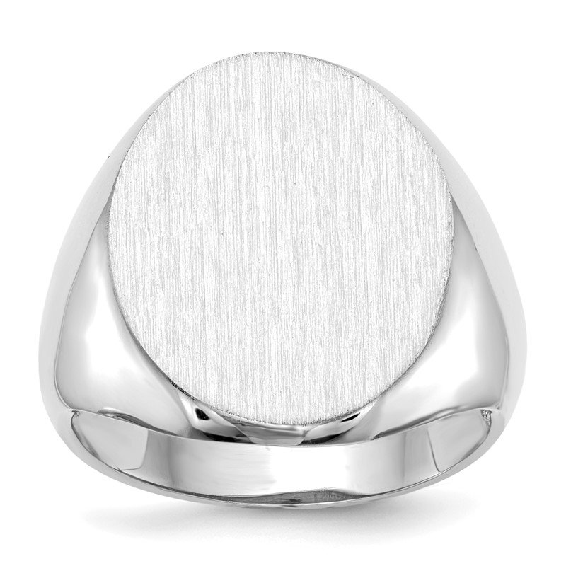 Quality Gold 14k White Gold 20.5x16.0mm Open Back Signet Ring