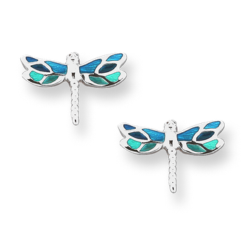 Fine Enamels Sterling Silver Dragonfly Stud Earrings-Turquoise