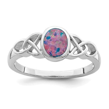 Sterling Silver Lab Created Opal Ring