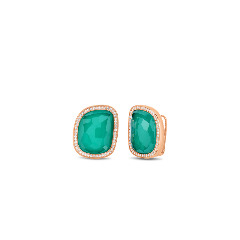 Roberto Coin 18Kt Gold Earrings With Diamonds And Agate