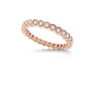 Diamond Bezel Stackable Ring in 14k Rose Gold with 27 Diamonds weighing .63ct tw.