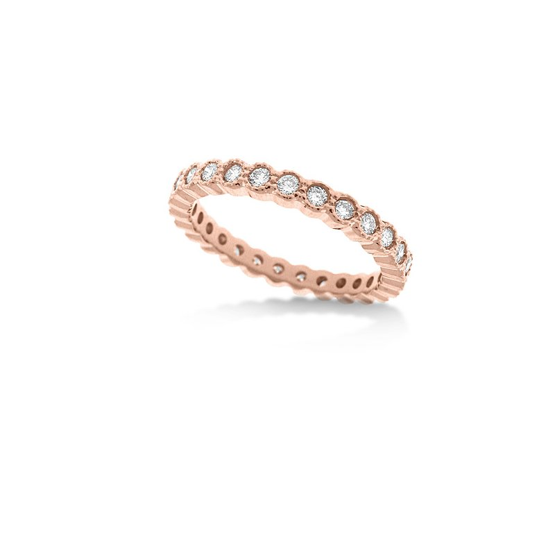 KC Designs Diamond Bezel Stackable Ring in 14k Rose Gold with 27 Diamonds weighing .63ct tw.