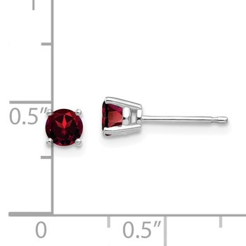 14k White Gold 4mm Garnet Earrings