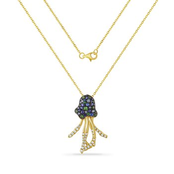 beautiful 14K jelly fish necklace with 18 sapphires 0.22CT & 35 diamonds 0.18CT 25mm long