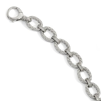 Leslie's Sterling Silver Rhodium-plated CZ Woven Link Bracelet