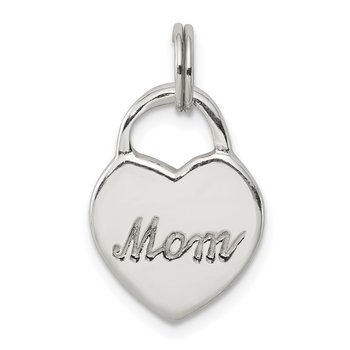 Sterling Silver Polished MOM Heart Charm