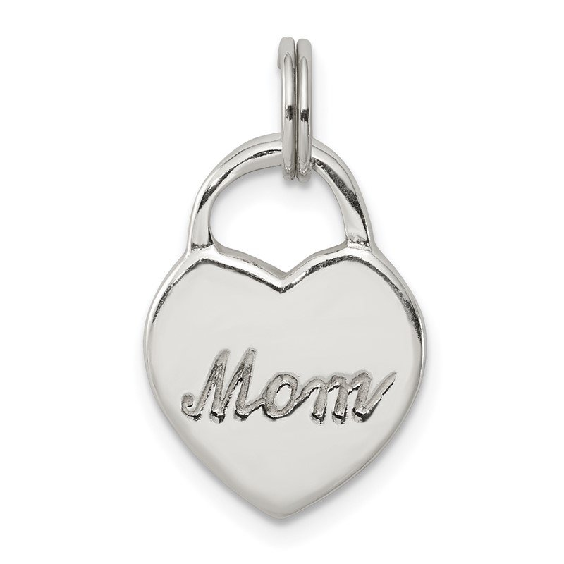 Quality Gold Sterling Silver Polished MOM Heart Charm