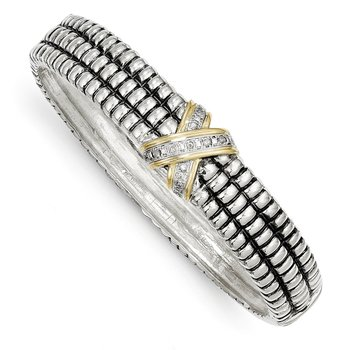 Sterling Silver w/14k 1/15ct. Diamond Bangle Bracelet