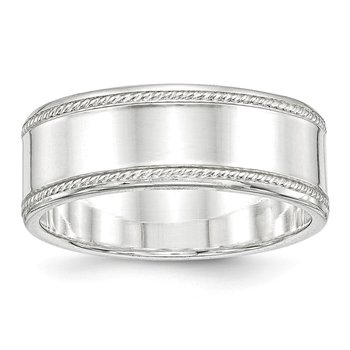 Sterling Silver 8mm Designed Edge Band