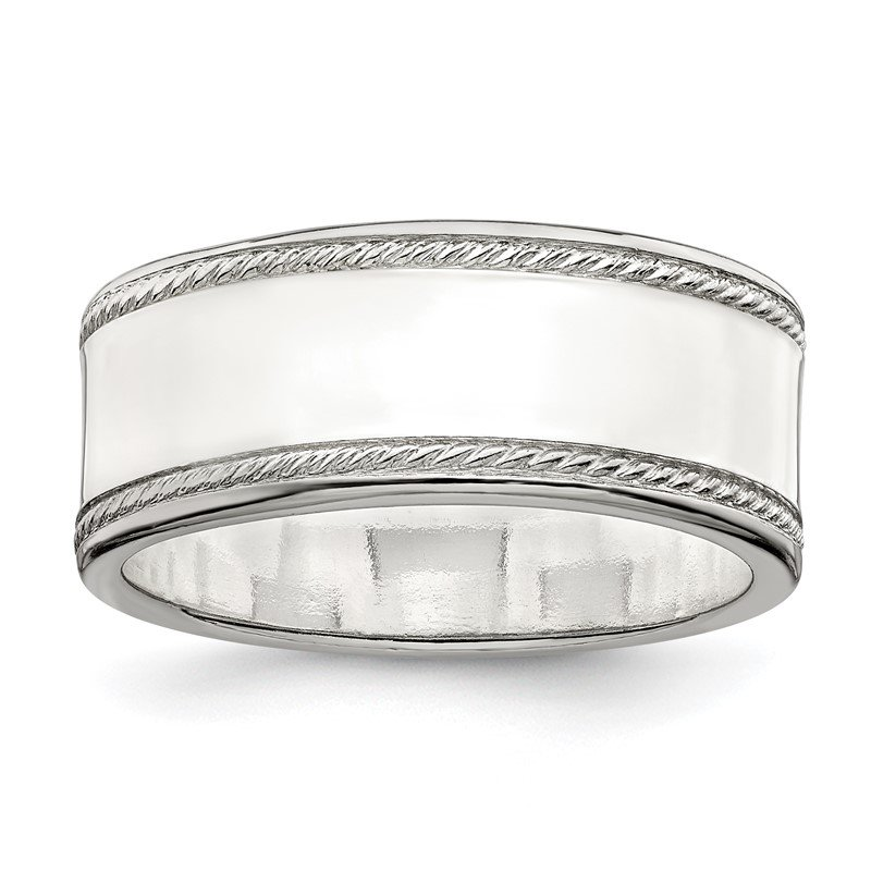 Quality Gold Sterling Silver 8mm Designed Edge Band