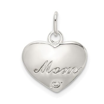 Sterling Silver Polished CZ Heart MOM Charm