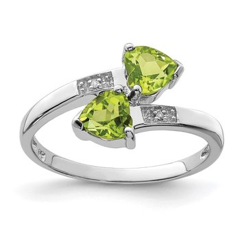 Sterling Silver Rhodium Peridot & Diamond Heart Ring
