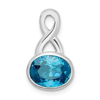 Sterling Silver Rhodium-plated Blue CZ Chain Slide