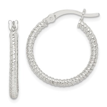 Sterling Silver Twisted 2x20mm Round Hoop Earrings