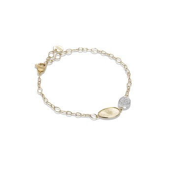 Lunaria Collection 18K Yellow Gold and Diamond Petite Double Leaf Bracelet
