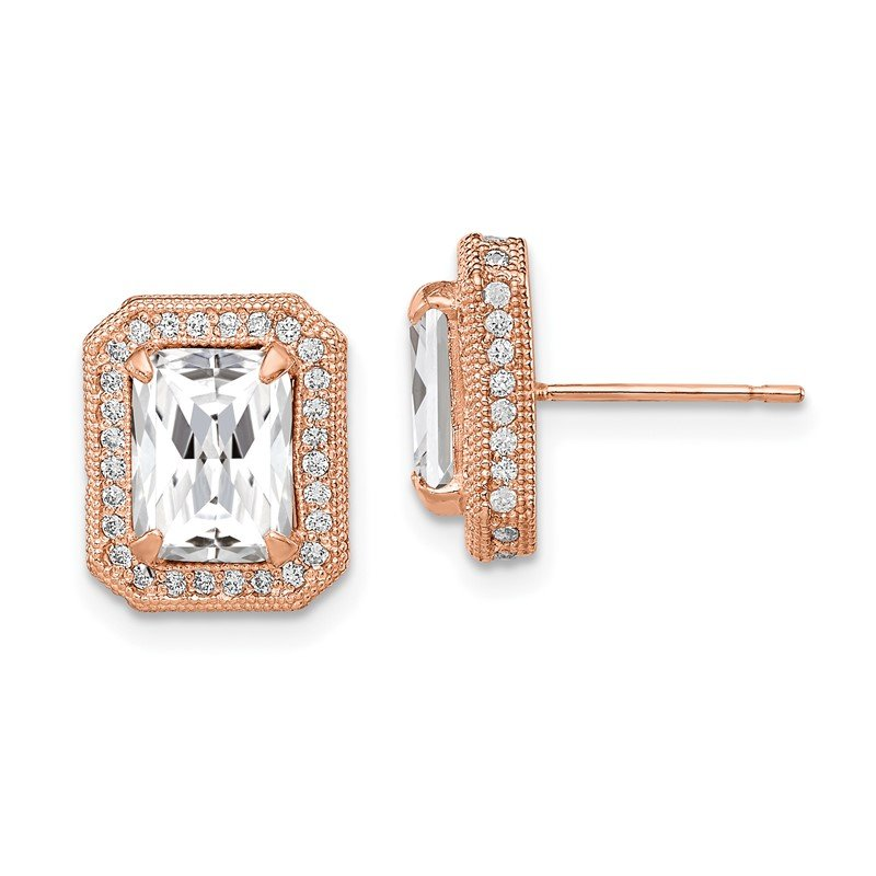 Quality Gold 10K Tiara Collection Rose Gold Polished CZ Earrings