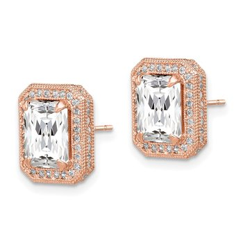 10K Tiara Collection Rose Gold Polished CZ Earrings