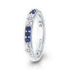 Carizza 14K White Gold Round Diamond and Sapphire Wedding Band
