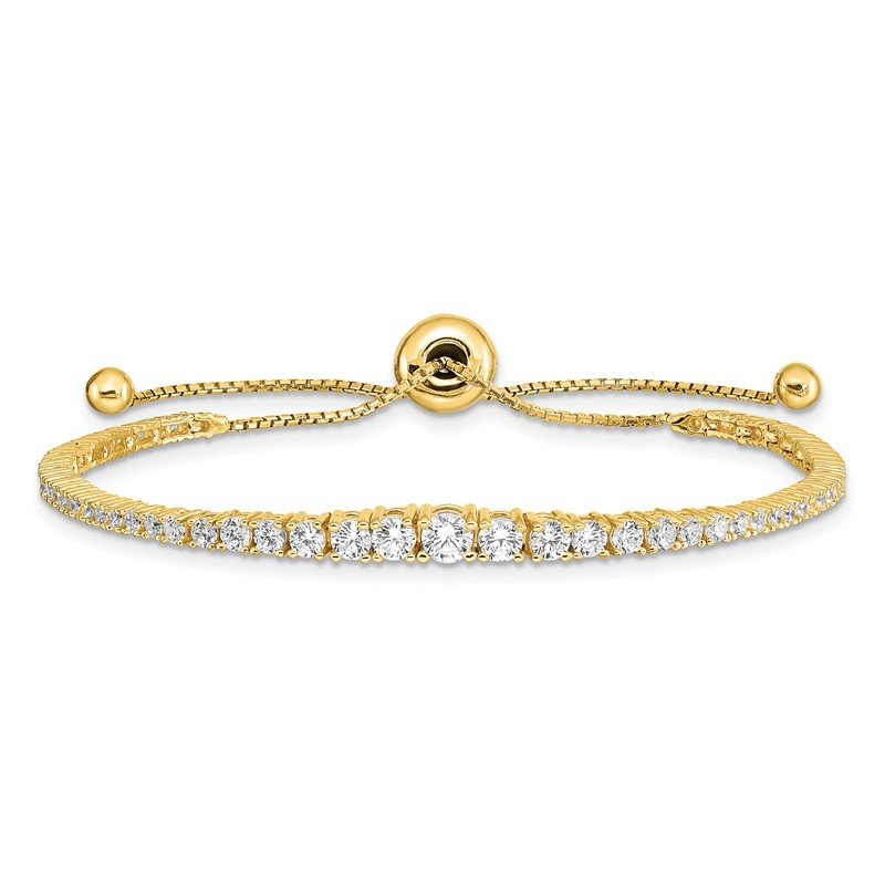 Quality Gold Sterling Silver Gold-tone CZ 5-9in Adjustable Bracelet