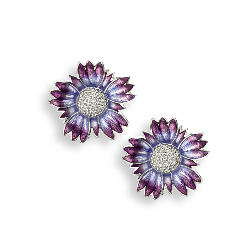 Nicole Barr Designs Purple Coastal Tidytip Stud Earrings.Sterling Silver