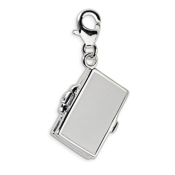 Sterling Silver 3-D Enameled Notebook Laptop w/Lobster Clasp Charm
