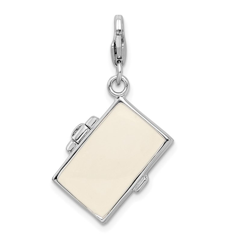 Quality Gold Sterling Silver RH 3-D Enameled Notebook Laptop w/Lobster Clasp Charm