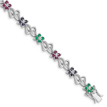 Sterling Silver Rhodium-plated & Sapphire, Ruby , Emerald Bracelet