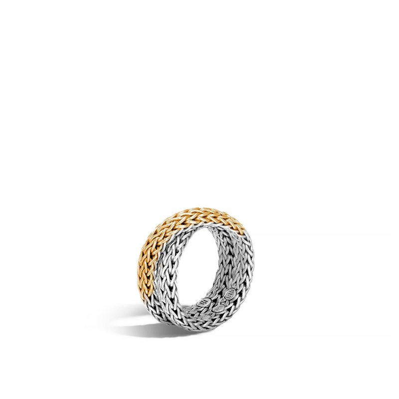 John Hardy Classic Chain Overlap Ring in Silver and 18K Gold