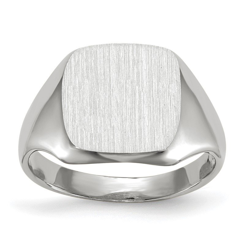 Quality Gold 14k White Gold 11.0x10.5mm Open Back Signet Ring
