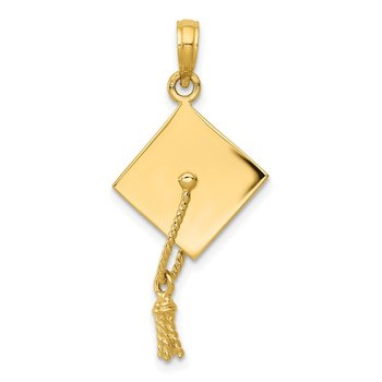 14k Solid Polished 3-D Graduation Cap Pendant
