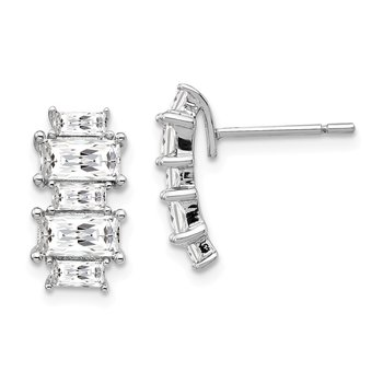 Cheryl M Sterling Silver Emerald-cut CZ Post Earrings