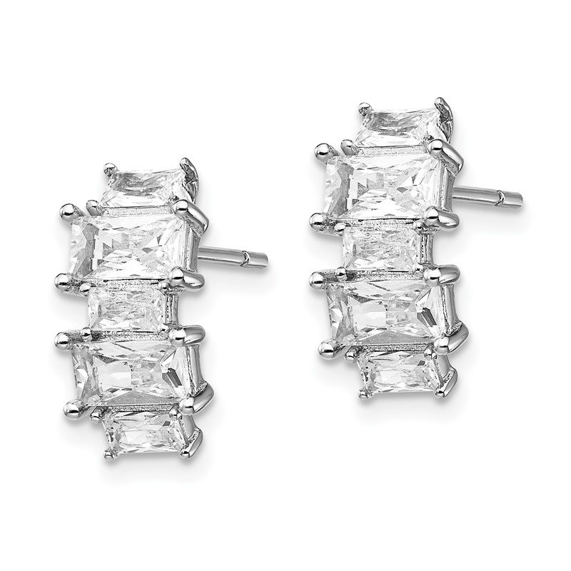 Cheryl M Cheryl M Sterling Silver Rhodium Plated Emerald-cut CZ Post Earrings