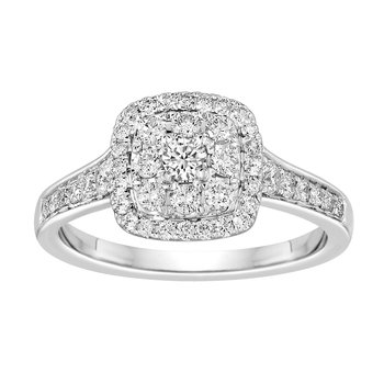 BLISS16: 14KW Cushion Halo Cluster Engagment Ring
