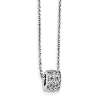 Sterling Silver & CZ Brilliant Embers Polished Necklace