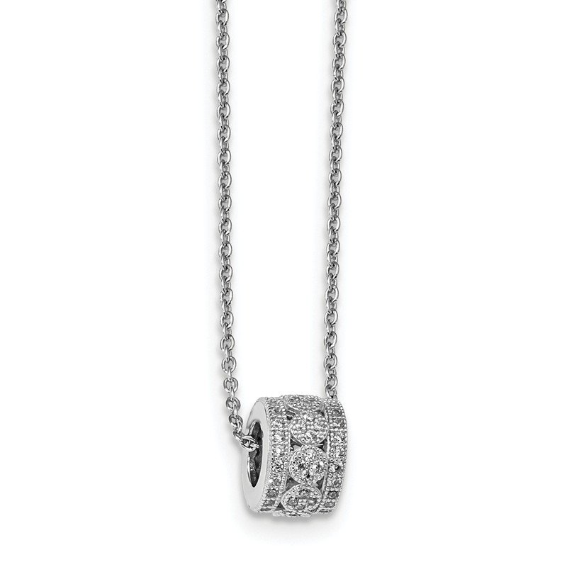 Arizona Diamond Center Collection Sterling Silver & CZ Brilliant Embers Polished Necklace