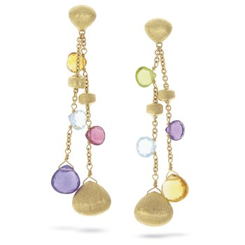Gold Tear Drop & Mixed Gemstone Double Drop Earrings