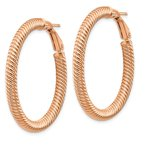 Quality Gold 14k 4x30mm Rose Gold Twisted Round Omega Back Hoop Earrings