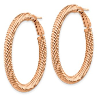 14k 4x30mm Rose Gold Twisted Round Omega Back Hoop Earrings