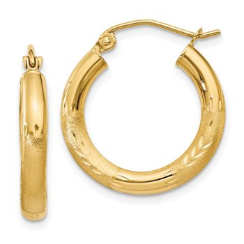 14k Satin and Diamond-cut 3mm Round Hoop Earrings