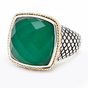 18kt and Sterling Silver Cushion Green Agate Ring